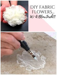 How to make your own easy DIY fabric flowers with fire! This simple method of creating lifelike roses and peonies is quick and easy. Click through for the step by step video tutorial. Making Fabric Flowers, Cloth Flowers, Paper Flowers Diy, Handmade Flowers, Flower Crafts, Flower Making, Diy Ribbon Flowers, Ribbon Flower Tutorial, Bow Tutorial