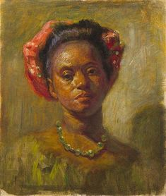 """""""Woman from the French West Indies,"""" Henry Ossawa Tanner, ca. 1891, oil on canvas mounted on board, 18 x 15"""", private collection."""