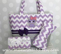 XL Quilted Purple / Lavender Chevron / Zig Zag / Owl Applique Diaper Bag Set - Changing Pad - Wipes Case