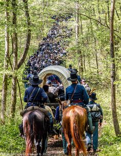 Union Army reenactors march through the woods on their way to the next battle with Confederate forces of the American Civil War. American War, American Soldiers, American History, Shiloh Battlefield, Battle Of Shiloh, Civil War Art, Union Army, Western Union, America Civil War
