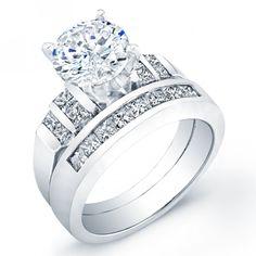 Carat round cut diamond engagement ring & band SI H ...
