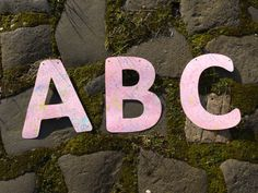 Getting to grips with our A-B-C's Some custom letters for a banner with Lorelai marbled print