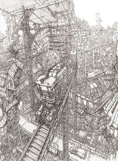 Raised Train Over the City, Intricate detailing