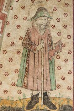 Sauvon kirkon Jaakob, 1400 luvun loppupuoli. Sauvon kirkko on Härkätien varrella. book in hand