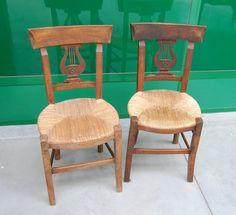 Coppia di sedie Direttorio in faggio prima metà '800