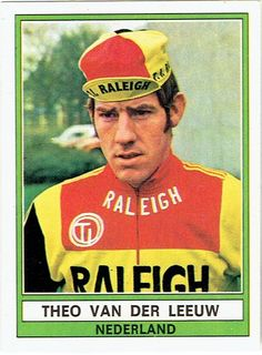Theo van der Leeuw - TI Raleigh 1974 - Panini-plaatje Bicycle Race, Van, Passion, Cycling Art, Baseball Cards, Dutch, Sports, Twitter, Biking