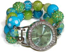 Its Spring Time Chunky Beaded Watch  Interchangeable by BeadsnTime