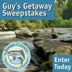Click this pin to enter the Guy's Getaway Sweepstakes, and you could win a luxury trout fishing and adventure vacation for four in beautiful #BlueRidgeGA!