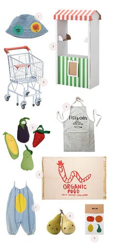 farmers market for kids 1. Bobo Choses Hat ($49) 2. Children's Market Stand ($15) 3. Melissa & Doug Shopping Cart ($49) 4. Bobo Choses Apron ($49) 5. Stuffed Fruit & Veggies ($7) 6. Embroidered Organic Food Rug ($255) 7. Bobo Choses Overalls ($95) 8. Crocheted pears ($30) 9. Temporary fruit tattoos ($14)