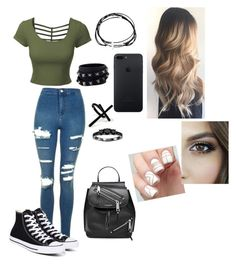 """""""Untitled #14"""" by lillyevans419 ❤ liked on Polyvore featuring LE3NO, Emi Jewellery, Valentino, Bliss Diamond, Topshop, Converse and Marc Jacobs"""