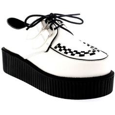 Tendance Chaussures Womens Double Platform Punk Goth Flatform Brothel Creepers Retro Shoes