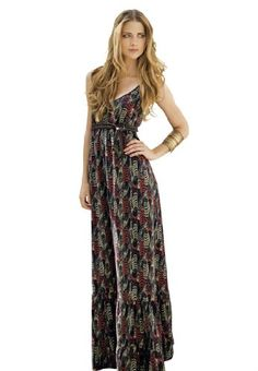 602cdda2605 Fit in with the NY hipster crowd in this plus size feather printed maxi  dress from Roaman s!