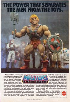 Old He-Man Advertisement #MOTU (It's interesting that Kenner and Hasbro allowed Star Wars and G.I. Joe figures to be pictured here)...CLASSIC!!!