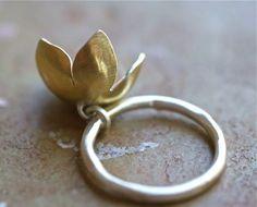 Golden Bell Flower Charm Ring by kathiroussel on Etsy