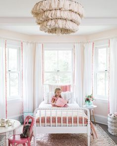 sweet pink girl bedroom decor with jenny lind bed, white spindle bed iwth pink bedding and tassel chandelier, girl bedroom design, tween girl bedroom decor, Small Room Bedroom, Bedroom Decor, Bedroom Ideas, Small Rooms, Bedroom Lighting, Kids Rooms, Bedroom Lamps, Girls Bedroom Chandelier, Master Bedroom