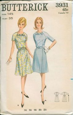 butterick 3931 size but bust, 60s Patterns, Vintage Dress Patterns, Clothing Patterns, Vintage Dresses, Vintage Outfits, Diy Clothing, Vintage Clothing, 1960s Fashion, Vintage Fashion