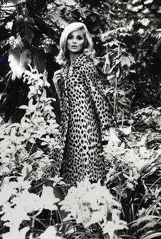 Model wearing fur coat, photo by Robert Laurent 1960