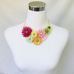 Colorful Necklace Flower Statement Necklace Flower Cluster Necklace Fuchsia Gold Lime Yellow Necklace and Bracelet Handmade Necklaces