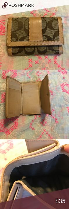 Coach Signature Mini Tan wallet! This Coach signature mini wallet has six card slots, bill compartment, and a back pocket for change! It is a light leather and has been cleaned with leather cleaner so with any light leather it make be a little darker in spots! It's very clean and was not carried much! coach Bags Wallets