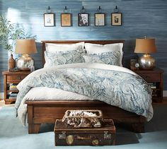 I like the frames over the bed // Weston Frame | Pottery Barn