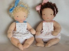 Pair of 6inch Jointed Waldorf Baby Dolls with Basket by mamaha