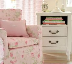 I love the fabric on this chair...so romantic!!