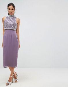 ASOS Pearl Encrusted Crop Top Midi Pencil Dress - Purple