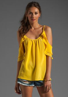 AKIKO Open Draped Shoulder Top in Sunshine at Revolve Clothing