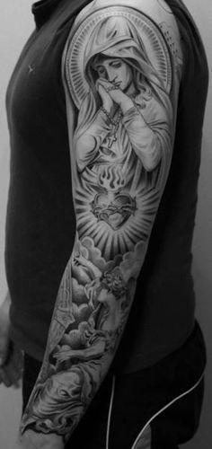 100 Amazing Lowrider Tattoo Designs Ideas - All Teens Talk Angel Sleeve Tattoo, Full Sleeve Tattoos, Men Tattoo Sleeves, Realistic Tattoo Sleeve, Full Sleeve Tattoo Design, Angel Tattoo Men, Mary Tattoo, Jesus Tattoo, Religion Tattoos