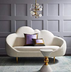 The Ether Settee has a simple genesis story: JA wanted to create a settee that looks and feels like heaven. The chic cloud silhouette and lozenge-like form are enveloping and inviting, while gleaming brass stiletto legs project posh presence. Ethereal yet Living Room Sofa, Living Room Furniture, Living Room Decor, Dining Room, Bedroom Decor, Wall Decor, Canapé Design, Chair Design, Design Ideas