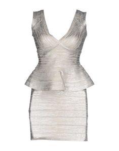 HERVÉ LÉGER BY MAX AZRIA Women's Short dress Silver XS INT