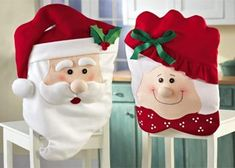 LOHOME Christmas Chair Cover, Mr & Mrs Santa Claus Christmas Kitchen Chair Covers Christmas Decoration Prop Seat Cover Slipcover for Christmas Dining Room Holiday Festive Party (Two Pairs) Halloween Kitchen, Christmas Kitchen, Noel Christmas, Christmas Crafts, Christmas Decorations, Christmas Ornaments, Father Christmas, Christmas Design, Magical Christmas