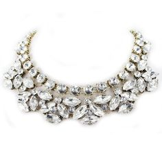 Golden Tone Rhinestone Crystal Statement Chokers Fashion Necklace