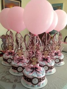 Baby shower diaper and balloon arrangement