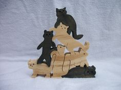 Wooden Jigsaw Puzzle. Stacked Cats. Free Standing. Hand Cut