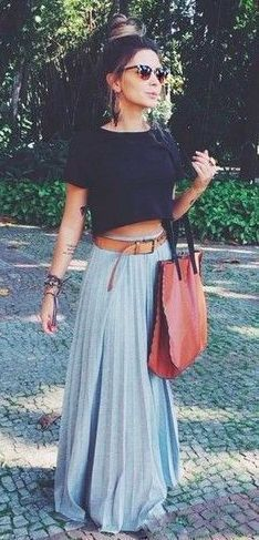 #Summer #Outfits / Black Top + Grey Maxi Skirt