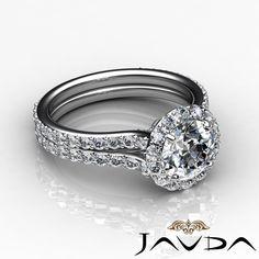 Round Diamond Engagement GIA I Color SI1 18K White Gold Halo Pave Set Ring 2 8ct | eBay