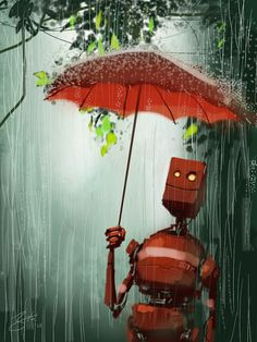 robot illustration used for sketchbook pro for ipad app. Lapin Art, Arte Robot, Sketchbook Pro, Umbrella Art, Dancing In The Rain, Cute Illustration, Illustrations, Cyberpunk, Bunt