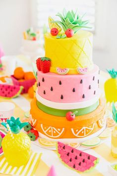 Fruity Birthday Cake Pineapple Watermelon Orange Birthday throughout Incredible Birthday Party Cake - Party Supplies Ideas Pretty Cakes, Cute Cakes, Beautiful Cakes, Amazing Cakes, Fancy Cakes, Orange Birthday Parties, Fruit Birthday, Cake Birthday, Orange Party