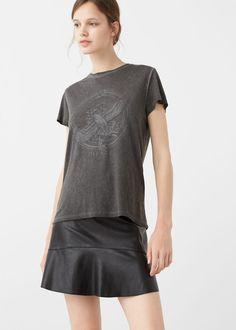 Printed image t-shirt - f foShort sleeved Woman | MANGO USA