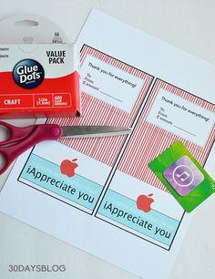 Supples for teacher apple gift card printable www.thirtyhandmadedays.com