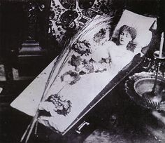 The Great Sarah Bernhardt Asleep in Her Coffin, Silver gelatin print, circa 1882 (She was not dead-she had a habit of doing this as she thought it would enhance her skill with tragic roles.