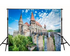 Purchase Long Wood Bridge Red Roof Castle Photography Backdrop Blue Sky Nature Background from Andrea Marcias on OpenSky. Castle Backdrop, Red Roof, Wood Bridge, Backdrops, Sky, Mansions, House Styles, Nature, Artwork