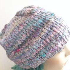 Soft Twilight Blues - Handmade Crochet Beanie -all natural fiber,super soft handspun wool and silk blend