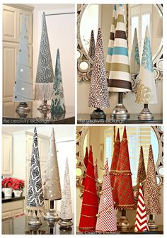 Fabric Covered Poster Board Tree Cones. Template and patterns available in shop with 5 cone sizes all on one template available for immediate download.
