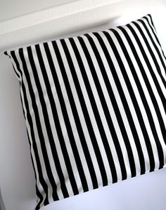 """STRIPE Cushion cover 18""""x18"""" Print on BOTH SIDES - Black and White decorative pillow cover - Modern cushion case. €16.00, via Etsy."""