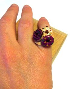 "Ring withh Fimo ""donuts"" http://melylefay.wix.com/avaloncreations"