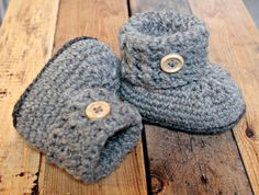 Grey baby booties crochet grey by TwoLands on Etsy