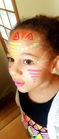 Aztec face painting. Tribal face painting. Can be used for adults or children. My daughter wanted her face paint to match her top. It was quick easy and fun. Festival face painting. Face painting by chantelle hallett. #facepaintingideasforadults