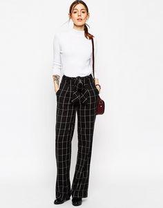 189254e3993e5 ASOS Wide Leg Trousers in Mono Grid Check with OBI Tie